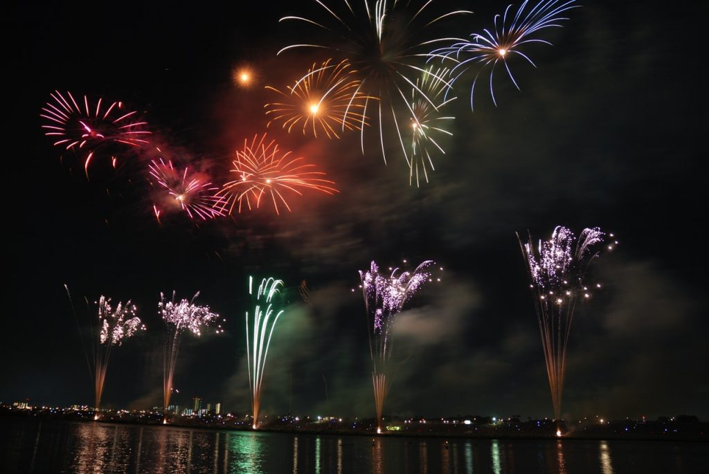 drone video footage scenic location -fireworks-colorful-sky-night-73814
