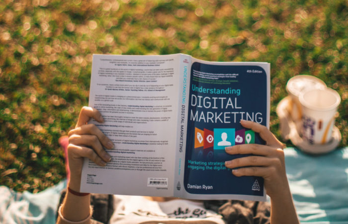 Someone lying outside on a blanket reading a book about digital marketing.