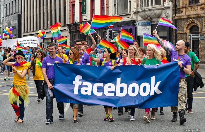Facebook march at Dublin Pride, showing their authentic marketing credentials